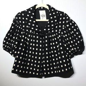 Tibi Black White Swing Crop Jacket Size 10